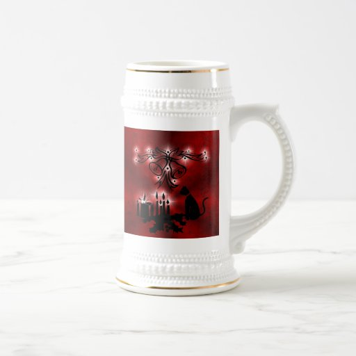 Christmas of ornamentations with stars and cat on  mugs