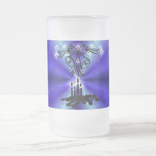 Christmas of ornamentations with stars on blue coffee mug