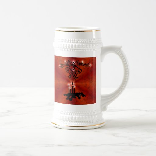 Christmas of ornamentations with stars on red mugs
