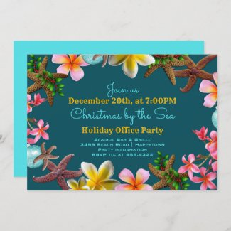 Christmas Office Party Beachy Border Invitation