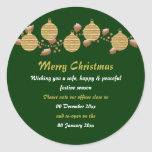 Christmas office premises closed from to peace round sticker