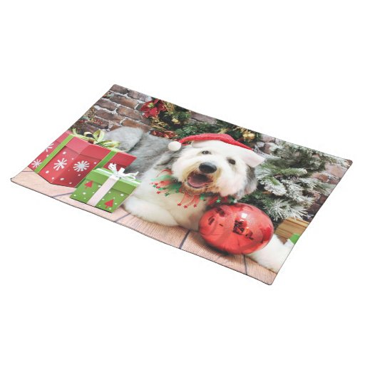Christmas - Old English Sheepdog - Alphy Placemat