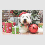 Christmas - Old English Sheepdog - Alphy Rectangle Stickers