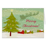 Christmas on a village land Greeting Card
