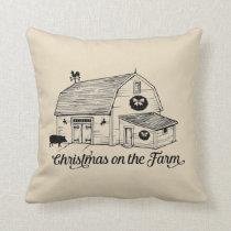 Christmas on the Farm Throw Pillow