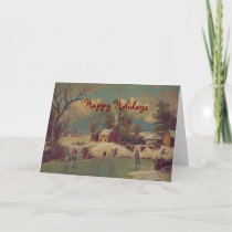 Christmas on the Farm Vintage Greeting Card