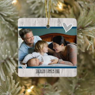 Christmas One Family Photo Rustic Birch and Hearts Ceramic Ornament