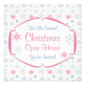 Christmas Open House Soft Pastel Snowflakes Announcements