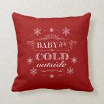 Christmas or Apres-Ski Red and White Snowflakes Pillow