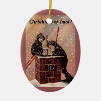Christmas Or Bust, Boy Chimney Sweep Antique Photo Ceramic Ornament