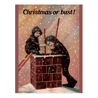 Christmas Or Bust, Boy Chimney Sweep Antique Photo Postcard