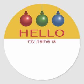 Christmas or Holiday Party Hello Name Tag Classic Round Sticker