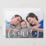 """Christmas or New Years Happy Holiday Family Photo<br><div class=""""desc"""">Send out festive holiday greetings with this fun card featuring your large family photo, names and hand-lettered text that reads &quot;Family&quot;. Leave the words above Peace . Love . Joy or change to your custom text. Modern and fun yet meaningful and classic, a perfect holiday card for Christmas or New...</div>"""