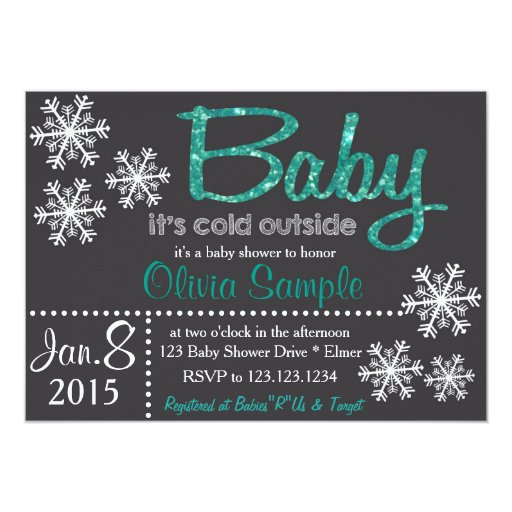 christmas or winter baby shower invitation zazzle