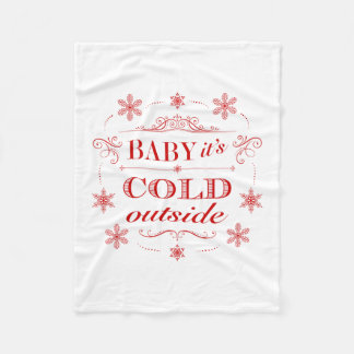 Christmas or Winter Red and White Snowflake Fleece Blanket