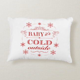 Christmas or Winter Red and White Snowflake Accent Pillow