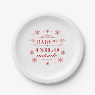 Christmas or Winter Red and White Snowflake 7 Inch Paper Plate
