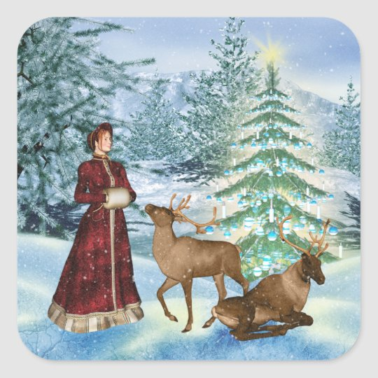 Free Scratch Cards >> Christmas or Yule Victorian Winter Scene Stickers | Zazzle.com