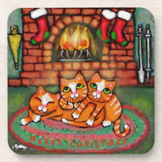 Christmas Orange Cozy Tabby Cats Cork Coaster Set corkcoaster