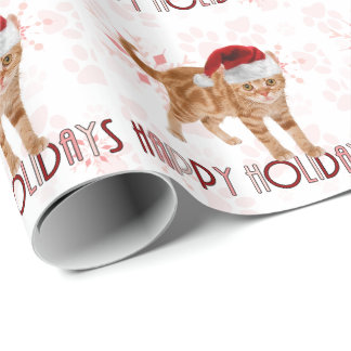 Christmas Orange Tabby Cat | Pink Snowflake Wrap Wrapping Paper