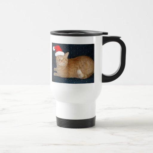 Christmas Orange Tabby Cat Travel Mug