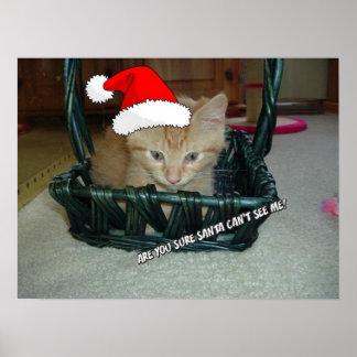Christmas Orange Tabby Kitten Poster