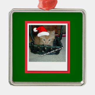 Christmas Orange Tabby Kitty Cat Metal Ornament