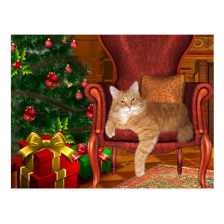 Christmas orange tabby postcard
