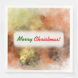 [ Thumbnail: Christmas; Orange, Yellow & Gray Mist-Like Pattern Napkin ]