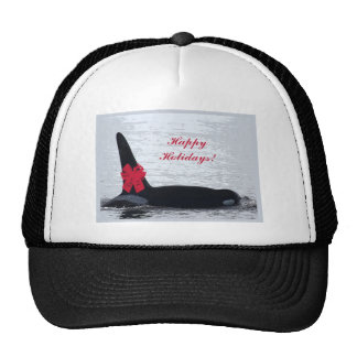 Christmas Orca Black and White Red Bow Happy Holid Hat