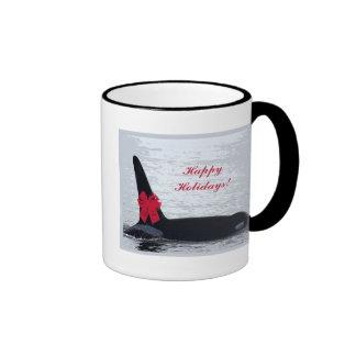 Christmas Orca Black and White Red Bow Happy Holid Coffee Mug