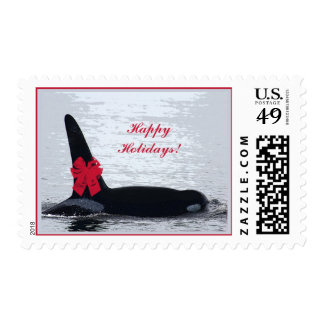Christmas Orca Black and White Red Bow Happy Holid Postage Stamp