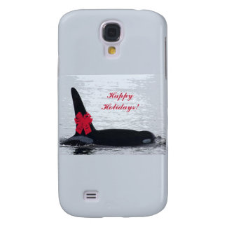 Christmas Orca Black and White Red Bow Happy Holid Samsung Galaxy S4 Case