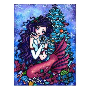 Christmas Themed Christmas Orca Mermaid Fantasy Art Postcard