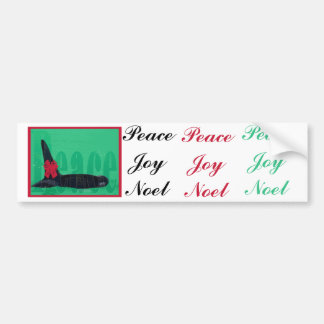 Christmas Orca Red Bow Peace Killer Whale Bumper Sticker