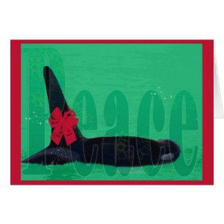 Christmas Orca Red Bow Peace Killer Whale Card