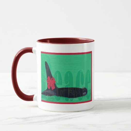 Christmas Orca Red Bow Peace Killer Whale Mug