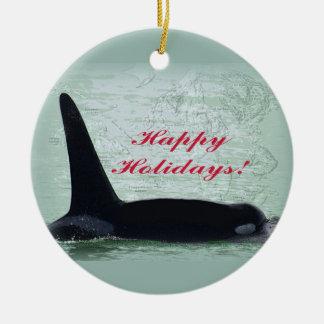 Christmas Orca San Juan Island Merry Christmas Ceramic Ornament
