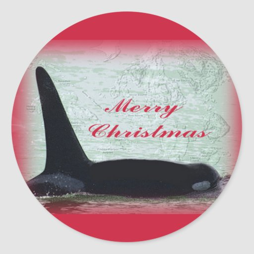 Christmas Orca San Juan Island Merry Christmas Classic Round Sticker