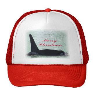 Christmas Orca San Juan Island Merry Christmas Mesh Hats