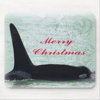 Christmas Orca San Juan Island Merry Christmas Mouse Pad