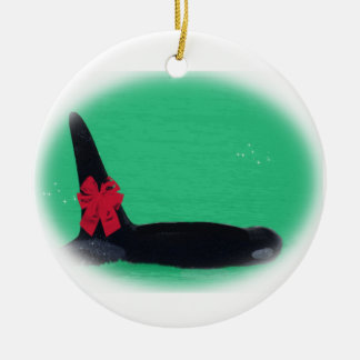 Christmas Orca Whale with Red Bow on Green Backgro Ceramic Ornament