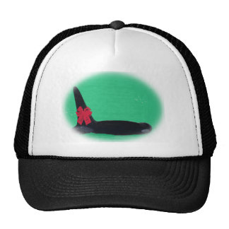 Christmas Orca Whale with Red Bow on Green Backgro Hat