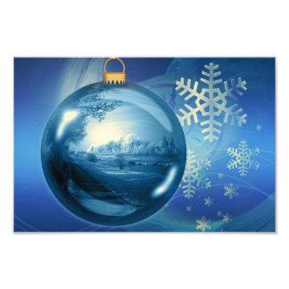 Christmas Ornament Ball Evening Advent Blue Photograph