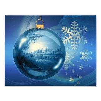 Christmas Ornament Ball Evening Advent Blue Photo Print