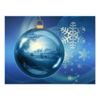 Christmas Ornament Ball Evening Advent Blue Photographic Print