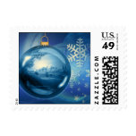 Christmas Ornament Ball Evening Advent Blue Postage Stamp