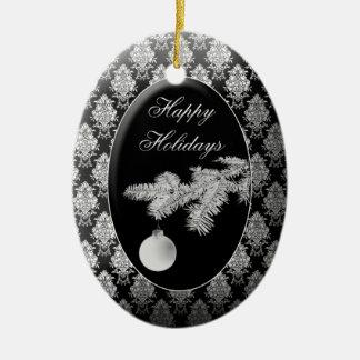 Christmas Ornament Black and White Oval Ceramic