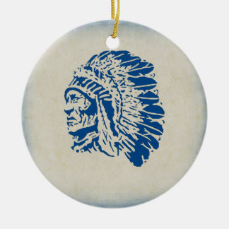 Christmas Ornament Blue Silhouette Indian Chief