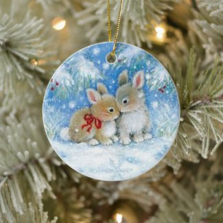 Christmas Ornament - Bunnies in Love